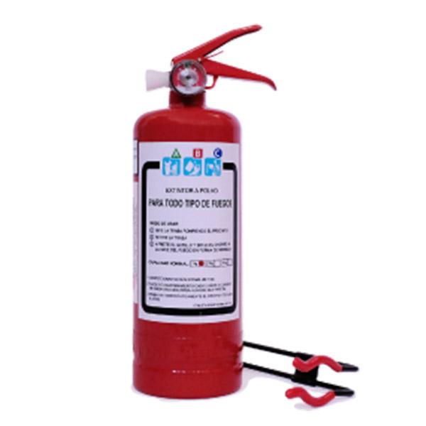 Extintor A Polvo ABC De 1 Kilo De Capacidad Con Soporte Vehicular