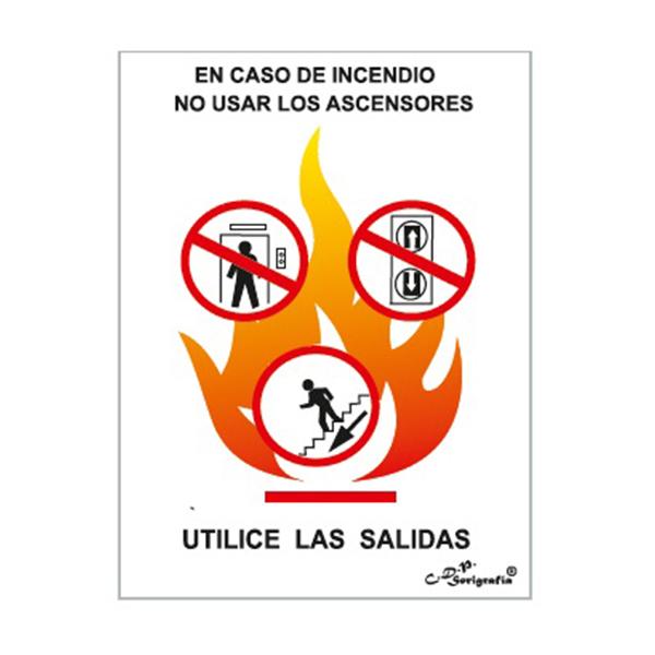 "Cartel Tinta Acrílica ""En Caso De Incendio No Usar Ascensor"""