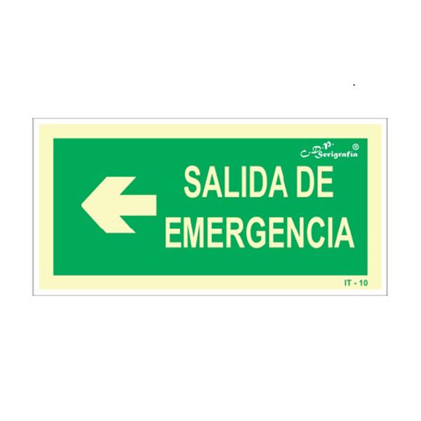 "Cartel Fotoluminiscente ""Salida De Emergencia A La Izquierda"""