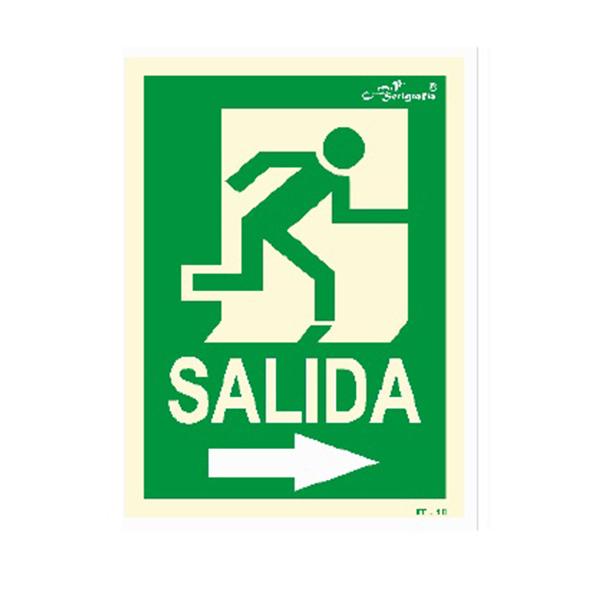 "Cartel Fotoluminiscente ""Salida A La Derecha"""