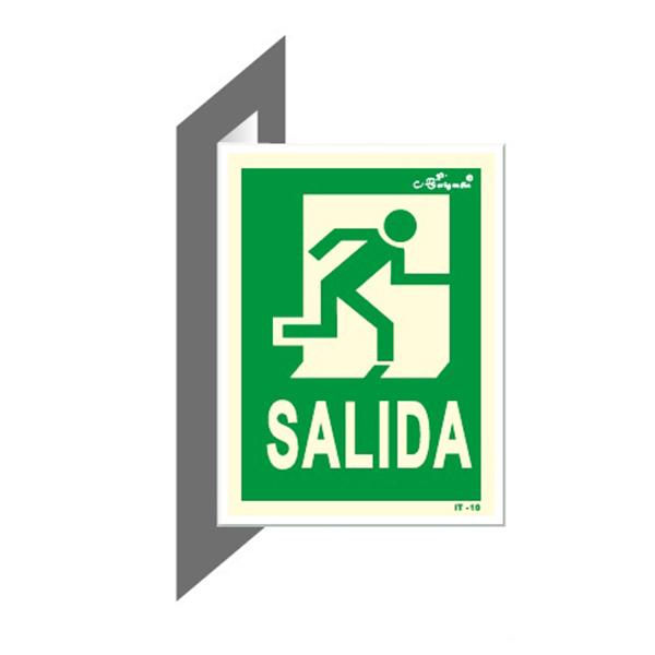 "Cartel Fotoluminiscente Doble Faz ""Salida"""