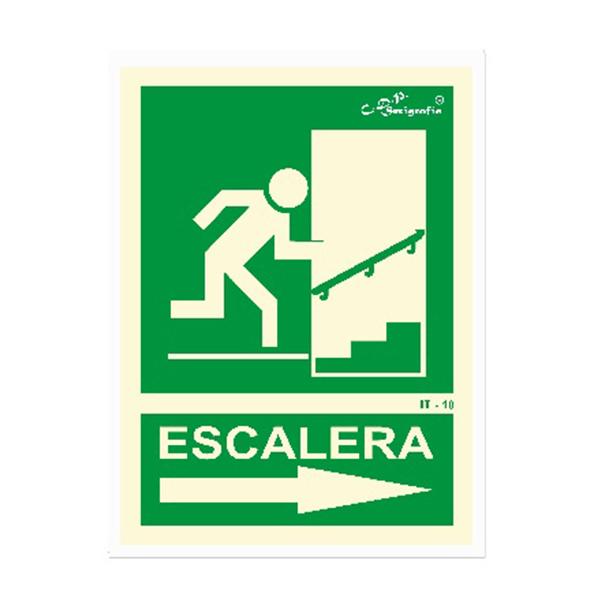 "Cartel Fotoluminiscente ""Salida Por Escalera Arriba Derecha"""