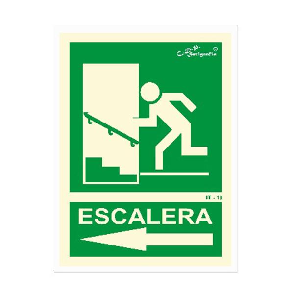 """Cartel Fotoluminiscente """"Salida Por Escalera Arriba Izquierda"""""""