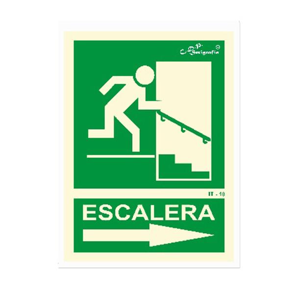 "Cartel Fotoluminiscente ""Salida Por Escalera Abajo Derecha"""