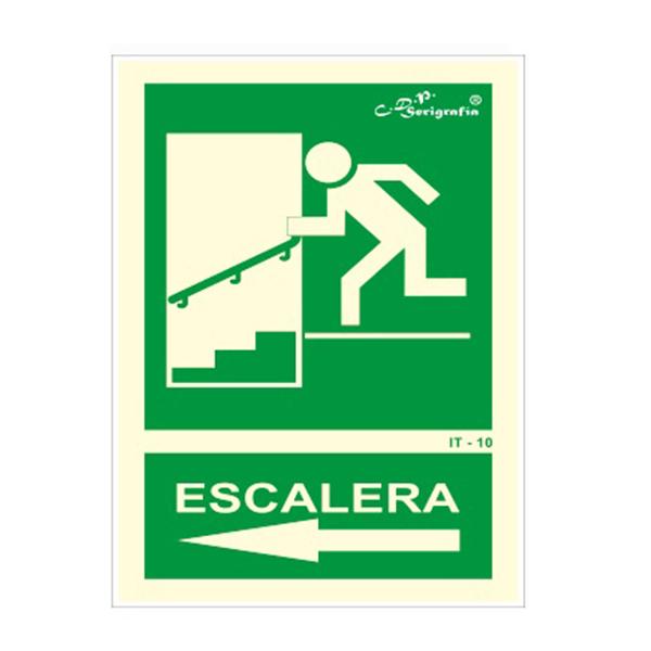 """Cartel Fotoluminiscente """"Salida Por Escalera Abajo Izquierda"""""""