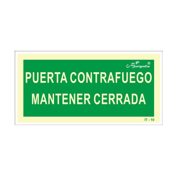 "Cartel Fotoluminiscente ""Puerta Cortafuego Mantener Cerrada"""