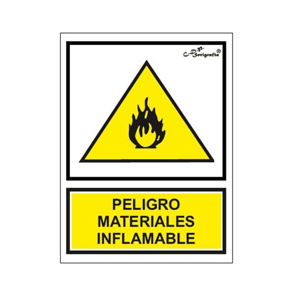 "Cartel Tinta Acrílica ""Peligro Materiales Inflamables"""