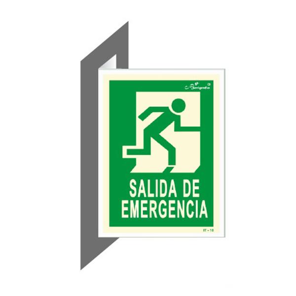 "Cartel Fotoluminiscente Doble Faz ""Salida De Emergencia"""