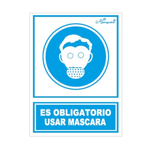 "Cartel Tinta Acrílica ""Uso Obligatorio De Máscara"""