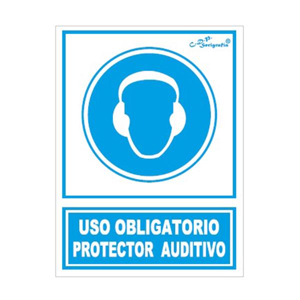 "Cartel Tinta Acrílica ""Uso Obligatorio Protector Auditivo"""