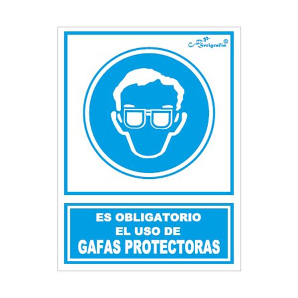 """Cartel Tinta Acrílica """"Es Obligatorio El Uso De Gafas Protectoras"""""""