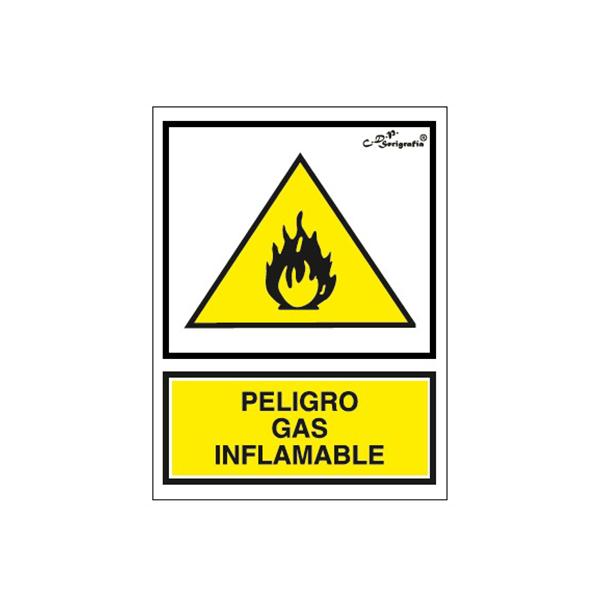 """Cartel Tinta Acrílica """"Peligro Gas Inflamable"""""""