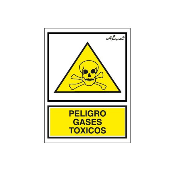"""Cartel Tinta Acrílica """"Peligro Gases Tóxicos"""""""
