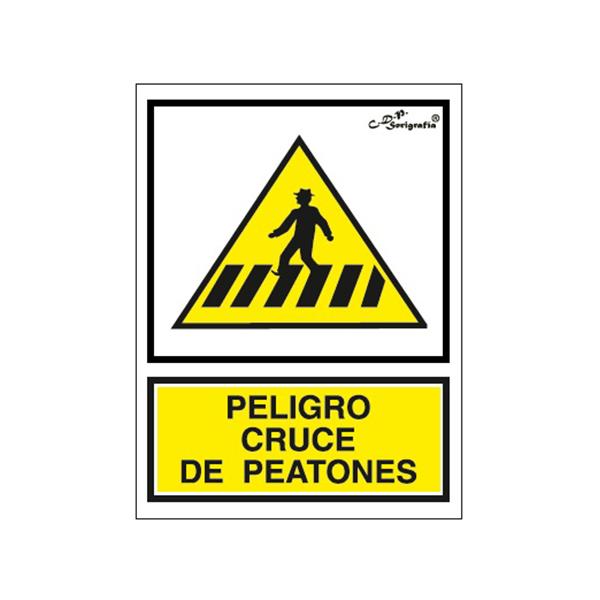 "Cartel Tinta Acrílica ""Peligro Cruce De Peatones"""