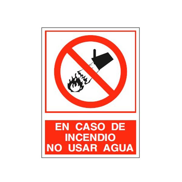 """Cartel Tinta Acrílica """"En Caso De Incendio No Usar Agua"""""""